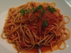 GF spaghetti with tomato sauce